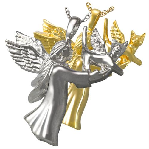 Angel Cat Pet Cremation Jewelry shown in silver and gold metal options