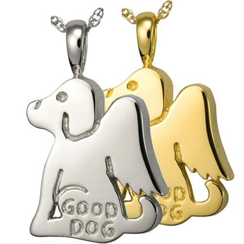 Good Dog Pet Cremation Jewelry Pendant shown in silver and gold metals