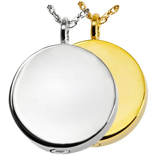 Simple Round Pet Cremation Jewelry shown in silver and gold
