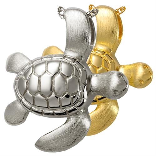 Turtle Pet Cremation Jewelry shown in silver and gold options