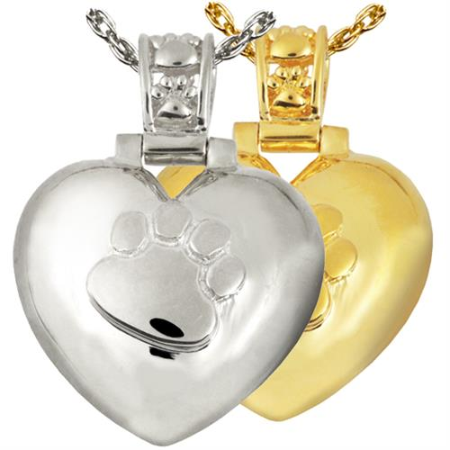 Paw Print Heart Urn Pendant with Paw Print Bail shown in silver and gold