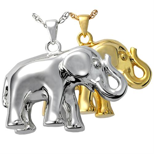 Elephant Never Forgets Cremation Jewelry shown in silver and gold