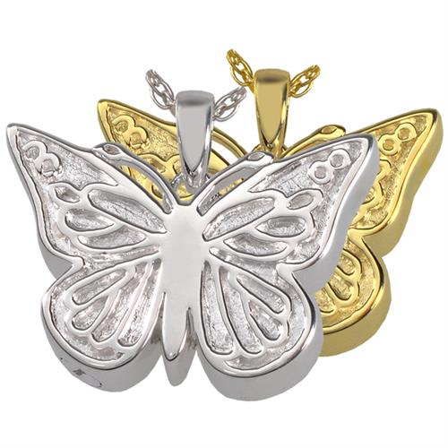 Perfect Filigree Butterfly Pet Cremation Jewelry shown in silver and gold