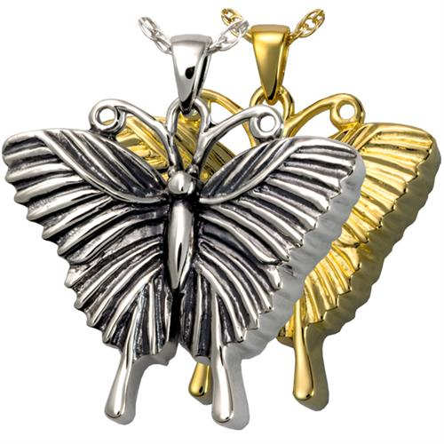 Pet Cremation Jewelry- Antique Butterfly shown in silver and gold