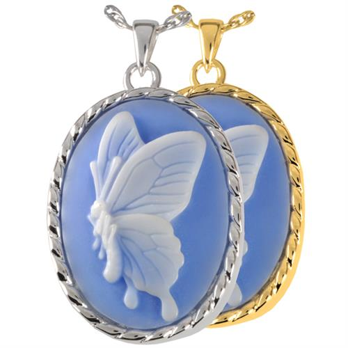 Butterfly Cameo Blue Pet Cremation Jewelry shown in silver and gold