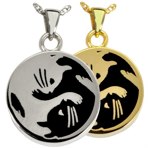 Kitty Yin Yang Pet Cremation Jewelry shown in silver and gold