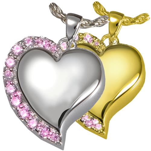 Shine Heart Pink Crystals Pet Cremation Jewelry shown in silver and gold