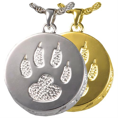 Cat Paw Pet Cremation Jewelry shown in silver and gold