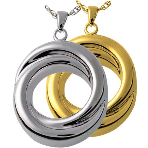 Infinity Love Knot Companion Pet Urn Jewelry shown in silver or gold