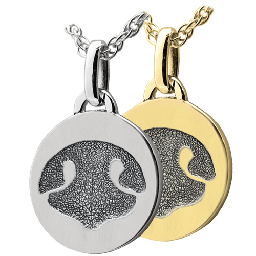 Petite Round Noseprint Jewelry available in silver or gold metal