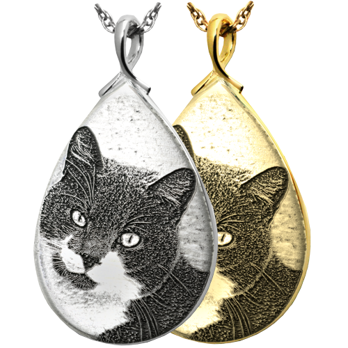 Teardrop Pet Jewelry engraved with custom photo