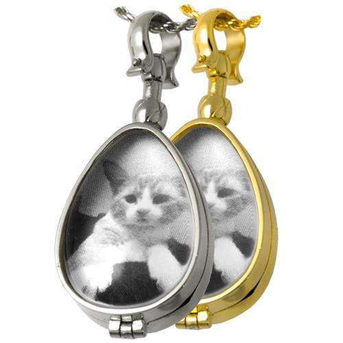 Victorian Glass Locket shown with cat photo in silver or gold