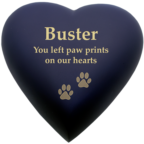 Brass Heart Dog Urn- Blue shown engraved