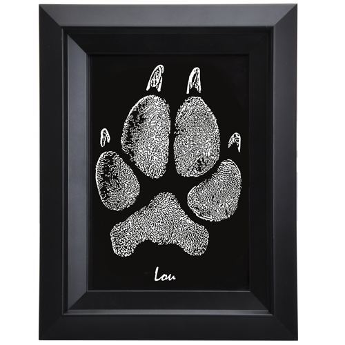 Pet Memorial Portrait- Framed Art Pet Print- Pawprint with name