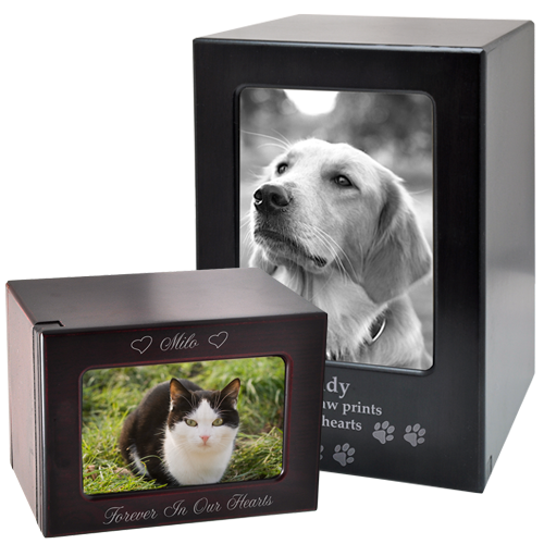 Slider Wooden Pet Urn with Photo Window in 2 sizes