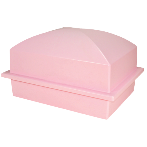 single pet burial vault in pink