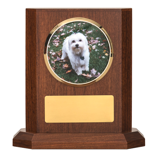 Delano Dog Urn in cherry wood