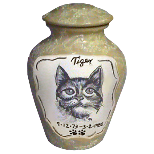 Custom pet portrait urn with name & dates