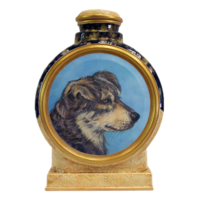 Custom Dog Portrait in Oil Two-tone Ceramic Urn