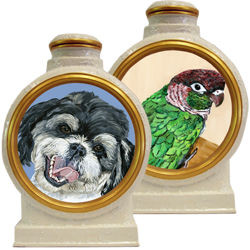 Premium Pet Portrait in Acrylic Pottery Urn