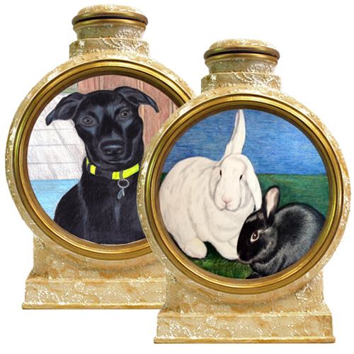 Colored Pencil Pet Portrait  pottery urns