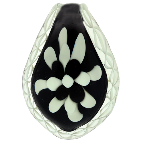 Black & White Pet Cremation Glass Pendant