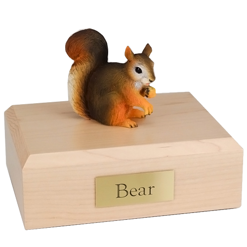 Red squirrel figurine wood urn