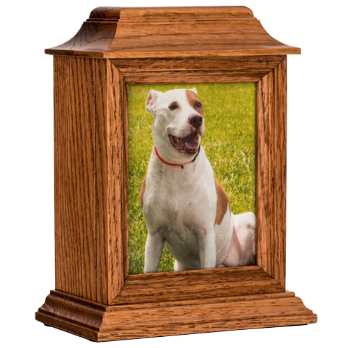 wood pet urn with photo frame