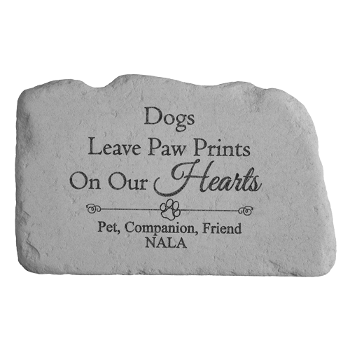dogs leave paw prints on our hearts memorial stone