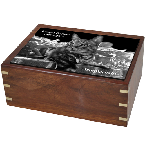 Perfect Wooden Box Cat Urn Large with Photo Tile