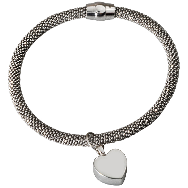 Sterling Silver Rhodium Plated Bracelet With Urn Charm