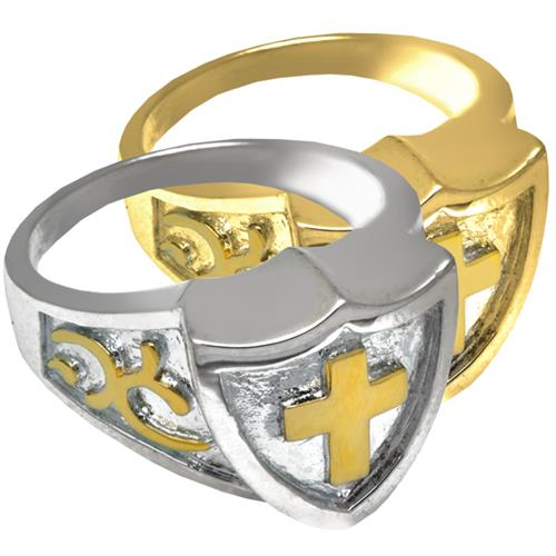 Pet Cremation Jewelry Two Tone Shield Ring in silver and gold