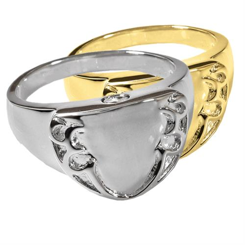 Pet Cremation Jewelry Engravable Shield Ring shown in silver or gold