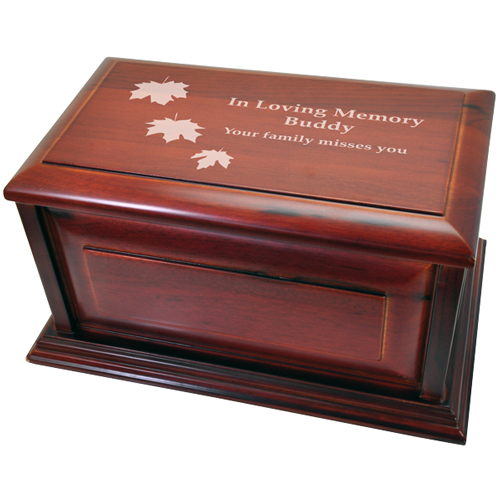 Wood engraving shown on Classic Cherry Finish Wood Dog Urn- Raised Panel