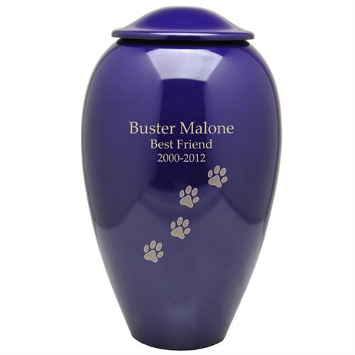 Purple Premium Brass Pet Cremation Urn engraved with text & paw prints