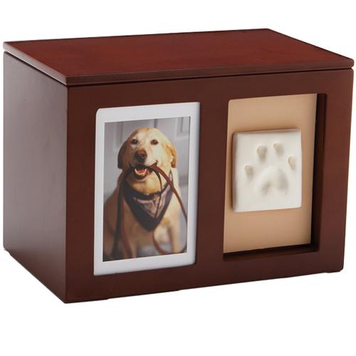 Dog Urn Pet Memorial Wooden Pawprint Memory Box