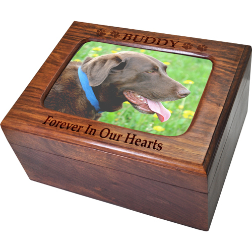 Pet wood urn shown with name and sentiment engraved