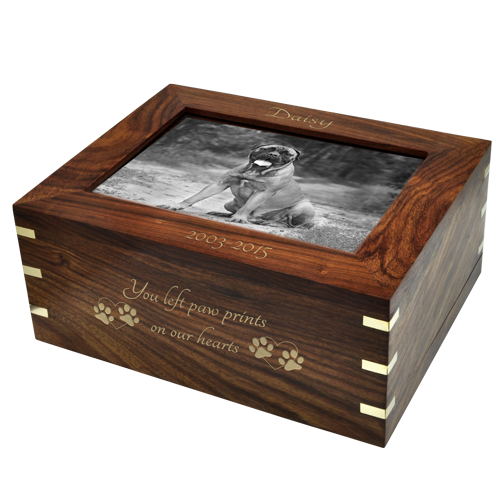 Perfect Wooden Box Pet Urn with Photo Window- Large shown with all options
