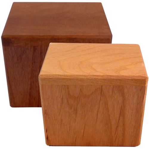 Petite Bea Alder Wood Urns in Natural or Walnut Finish