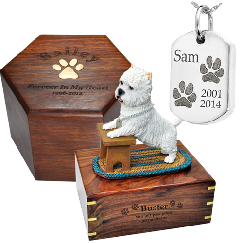 samples of engraved pet urns and urn jewelry