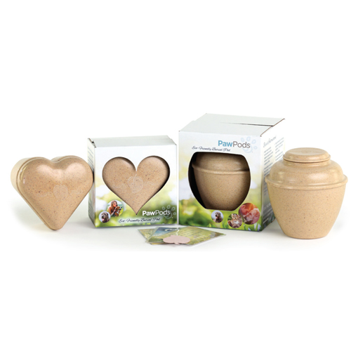 pawpods eco-friendly burial urn in heart & classic styles