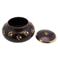 paw print brass pet urn with open threaded lid