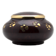 side view of paw prints brass pet urn
