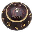 personalized paw print pet urn for dog ashes