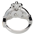 View of screw enclosure of Claddagh ring pet cremation jewelry