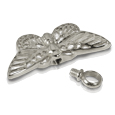 Pet Cremation Jewelry Chrome Butterfly shown with open lid