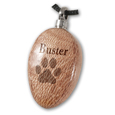 Engraving sample shown on Oblong Light Wood Pet Cremation Jewelry