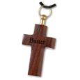 Engraved Dark Wood Cross Pet Cremation Jewelry