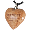 Engraved Light Wood Heart Pet Cremation Jewelry Pendant
