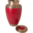 Lid shown open of Cherry Red Pet Urn